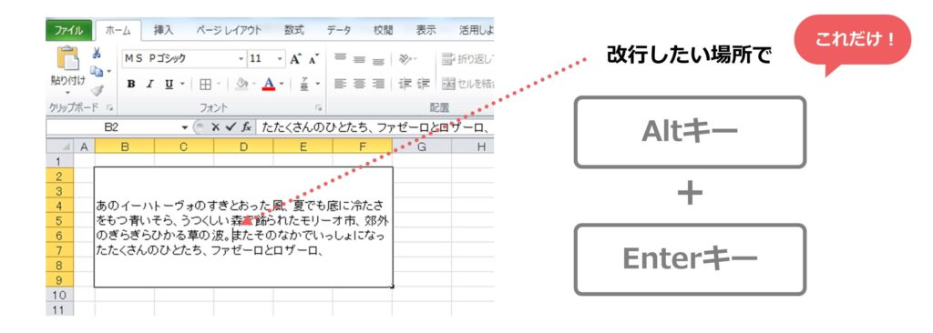 Excelのセル内改行の方法